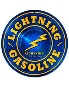 Lightning Gasoline, Automotive, Round Metal Sign, 14 X 14 Inches