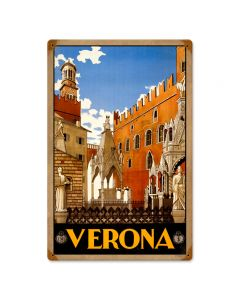 Verona Travel, Home and Garden, Vintage Metal Sign, 12 X 18 Inches