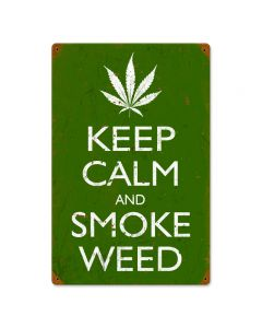 Keep Calm and Smoke, Humor, Vintage Metal Sign, 12 X 18 Inches