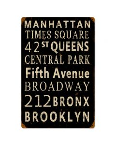 New York Streets, Street Signs, Vintage Metal Sign, 12 X 18 Inches