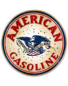 American Gasoline, Automotive, Round Metal Sign, 14 X 14 Inches