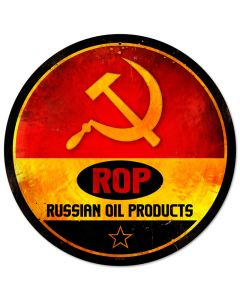 ROP Gasoline, Automotive, Round Metal Sign, 14 X 14 Inches