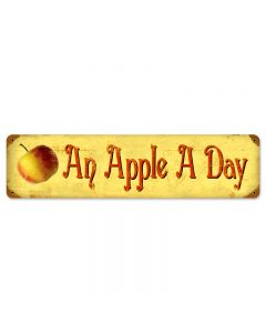 Apple a Day, Food and Drink, Vintage Metal Sign, 20 X 5 Inches