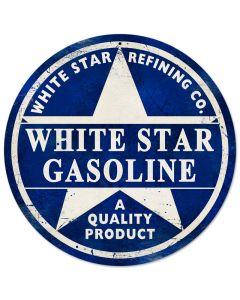 White Star Gasoline, Automotive, Round Metal Sign, 14 X 14 Inches