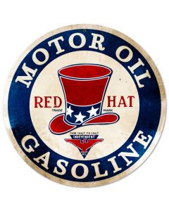 Red Hat Gasoline, Automotive, Round Metal Sign, 14 X 14 Inches