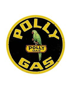 Polly Gas, Automotive, Round Metal Sign, 14 X 14 Inches