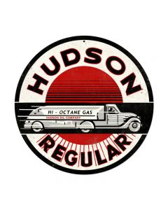 Hudson Gasoline, Automotive, Round Metal Sign, 14 X 14 Inches