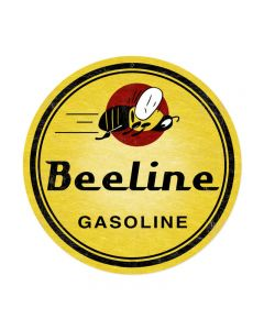 Bee Line Gasoline, Automotive, Round Metal Sign, 14 X 14 Inches