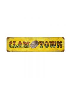 Clam Town, Humor, Vintage Metal Sign, 20 X 5 Inches