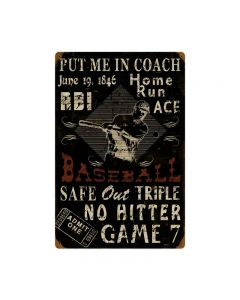 Baseball, Sports and Recreation, Vintage Metal Sign, 16 X 24 Inches