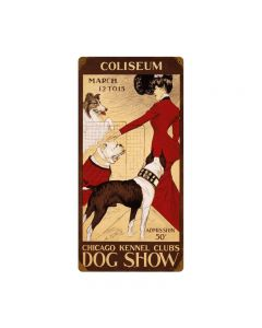 Chicago Dog Show, Home and Garden, Vintage Metal Sign, 12 X 24 Inches