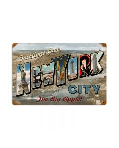 New York Postcard, Home and Garden, Vintage Metal Sign, 18 X 12 Inches