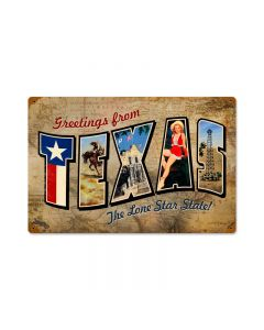 Texas Postcard, Home and Garden, Vintage Metal Sign, 18 X 12 Inches