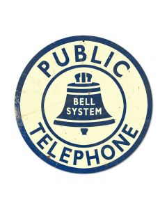 Bell Telephone, Home and Garden, Round Metal Sign, 14 X 14 Inches