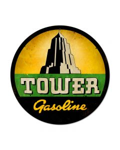 Tower Gasoline, Automotive, Round Metal Sign, 14 X 14 Inches