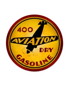 Aviation Gasoline, Aviation, Round Metal Sign, 14 X 14 Inches