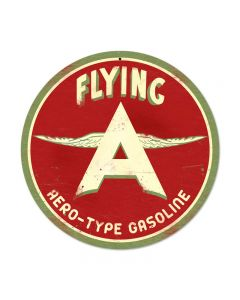 Flying A Original, Automotive, Round Metal Sign, 14 X 14 Inches