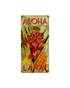 Aloha Pineapple, Home and Garden, Vintage Metal Sign, 12 X 24 Inches