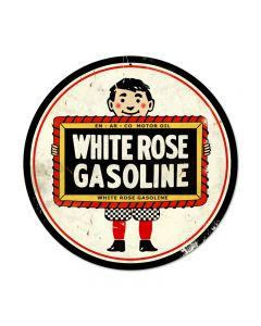 White Rose, Automotive, Round Metal Sign, 14 X 14 Inches
