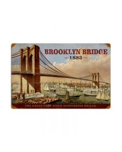 Brooklyn Bridge, Home and Garden, Vintage Metal Sign, 24 X 16 Inches