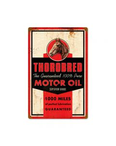 Thorobred Motor Oil, Automotive, Vintage Metal Sign, 12 X 18 Inches