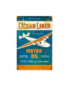 Ocean Liner Oil, Aviation, Vintage Metal Sign, 12 X 18 Inches