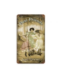 Best Friends Forever, Home and Garden, Vintage Metal Sign, 8 X 14 Inches