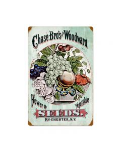 Chase Bros Seeds, Home and Garden, Vintage Metal Sign, 16 X 24 Inches