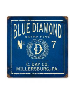 Blue Diamond, Home and Garden, Vintage Metal Sign, 12 X 12 Inches