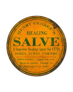 Healing Salve, Home and Garden, Round Metal Sign, 14 X 14 Inches