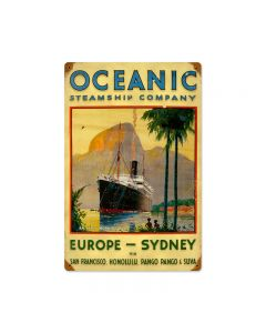 Oceanic, Sports and Recreation, Vintage Metal Sign, 12 X 18 Inches