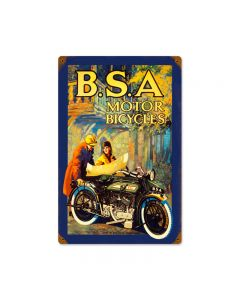 BSA Motorcycles, Motorcycle, Vintage Metal Sign, 12 X 18 Inches