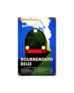 Bournemouth, Train and Rail, Vintage Metal Sign, 12 X 18 Inches