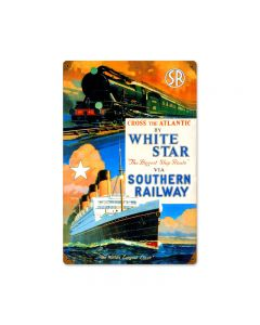 White Star Ship, Train and Rail, Vintage Metal Sign, 12 X 18 Inches