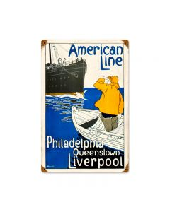American Line, Home and Garden, Vintage Metal Sign, 12 X 18 Inches
