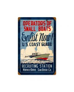 Coast Guard Enlist, Allied Military, Vintage Metal Sign, 12 X 18 Inches