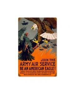 Eagle Army Air, Allied Military, Vintage Metal Sign, 12 X 18 Inches