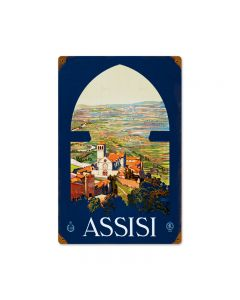 Assisi, Travel, Vintage Metal Sign, 12 X 18 Inches