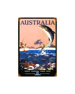 Australian Fishing, Travel, Vintage Metal Sign, 12 X 18 Inches