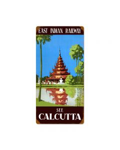 Calcutta, Travel, Vintage Metal Sign, 12 X 24 Inches