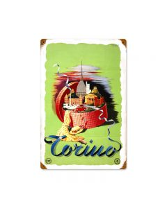 Torino, Travel, Vintage Metal Sign, 12 X 18 Inches