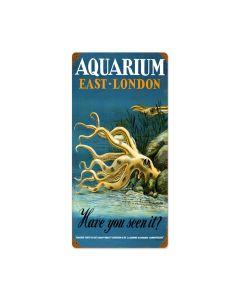 East London Aquarium, Travel, Vintage Metal Sign, 12 X 24 Inches