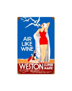 Air Like Wine, Travel, Vintage Metal Sign, 12 X 18 Inches