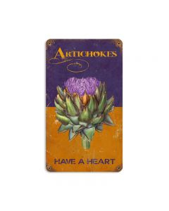 Artichokes, Home and Garden, Vintage Metal Sign, 8 X 14 Inches
