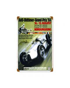 Oldtimer Grand Prix, Automotive, Vintage Metal Sign, 12 X 18 Inches