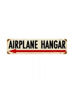 Airplane Hanger Left, Aviation, Vintage Metal Sign, 20 X 5 Inches