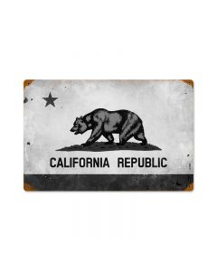 California Flag, Travel, Vintage Metal Sign, 18 X 12 Inches