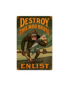 Destroy Mad Brute, Allied Military, Vintage Metal Sign, 12 X 18 Inches