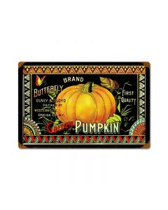 Halloween Golden Pumpkin, Home and Garden, Vintage Metal Sign, 18 X 12 Inches