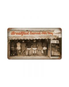Breakfast All Day, Humor, Vintage Metal Sign, 14 X 8 Inches